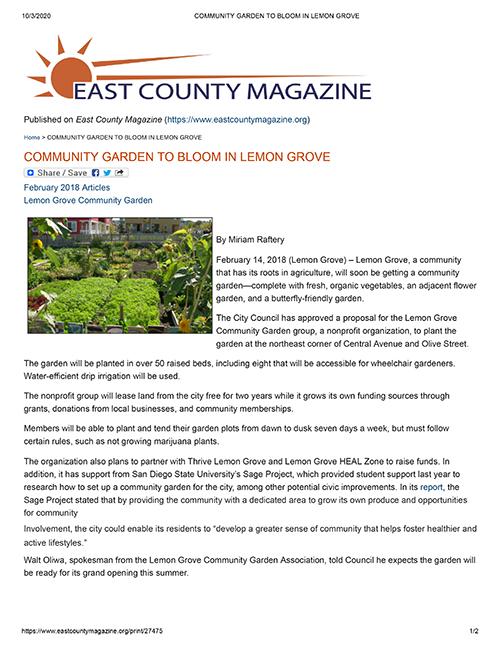 Community Garden To Bloom In Lemon Grove
